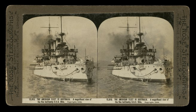 The Rose Stereographs. 'A magnificent view of the fine battleship U.S.S. Ohio' 1908