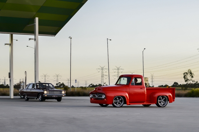 Andrew Follows. 'VE Valiant sedan with red Ford pick up truck' 2016