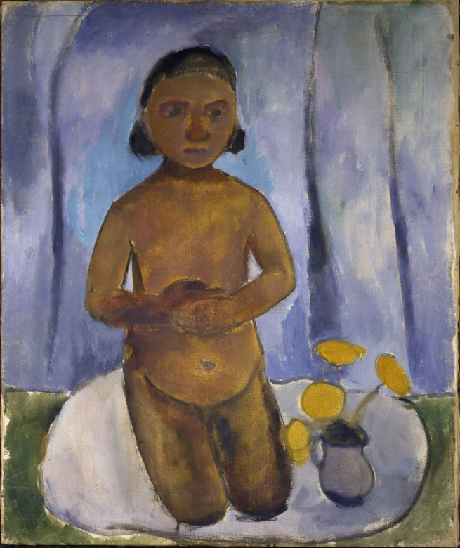 Paula Modersohn-Becker (1876-1907) 'Kneeling nude girl against blue curtain, Worpswede' 1906/07