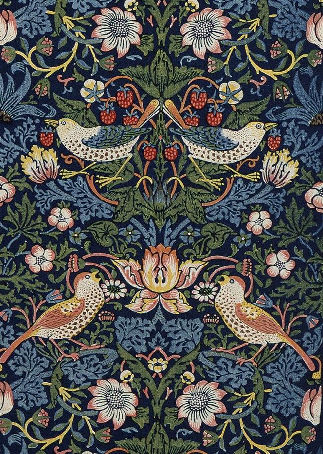 William Morris. decoration fabric Strawberry Thief, London, 1883 (detail)
