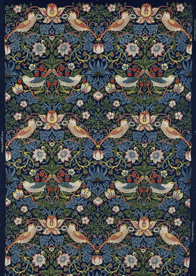 William Morris. decoration fabric Strawberry Thief, London, 1883