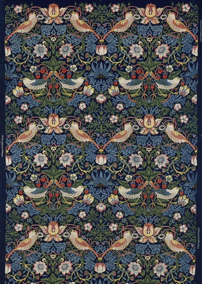 William Morris. decoration fabric Strawberry Thief, London, 1883