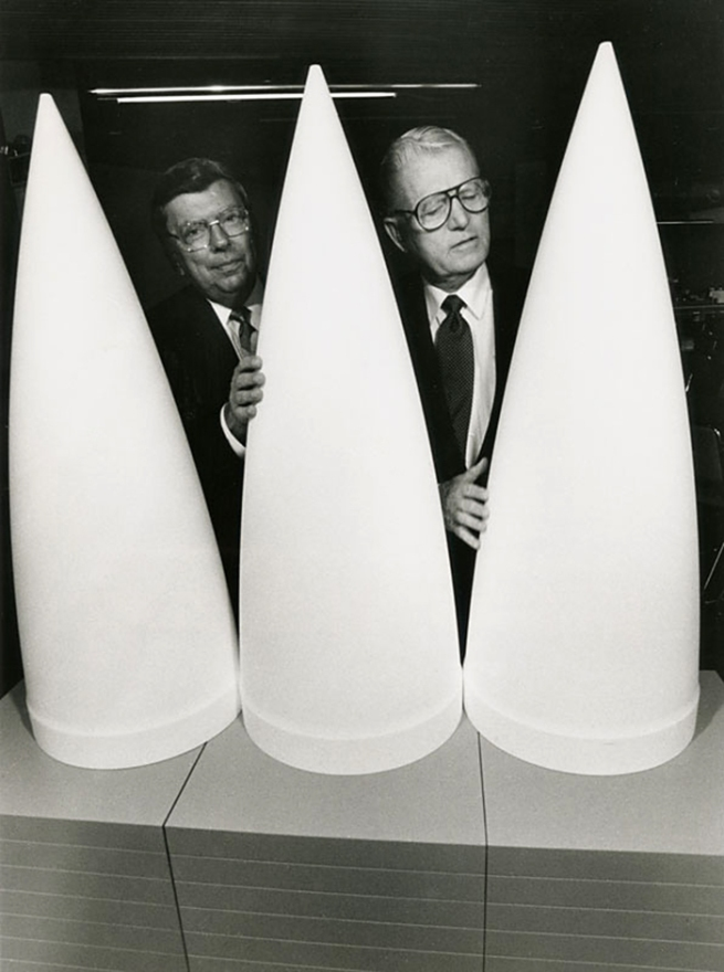 Anonymous photographer. 'Patriot Missile Warheads Promoters' 1991
