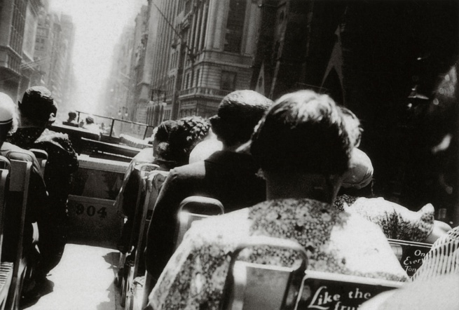 George Grosz. 'Aboard a double-decker on 5th Avenue at 48th street, with on the right the Collegiate Church of St. Nicholas' New York, 1932
