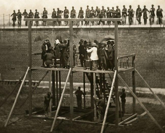 Alexander Gardner (1821-1882) 'Adjusting the Ropes' July 7, 1865 (detail)