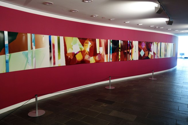 Installation photograph of Danica CHAPPELL. 'Light shadow (5 days + 5 hrs in 8 parts + test strips)' 2012–15 (detail)