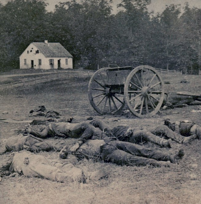 Alexander Gardner (1821-1882) 'Completely Silenced: Dead Confederate Artillerymen, as they lay around their battery after the Battle of Antietam' 1862 (detail)