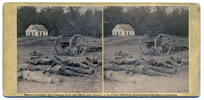 Alexander Gardner (1821-1882) 'Completely Silenced: Dead Confederate Artillerymen, as they lay around their battery after the Battle of Antietam' 1862