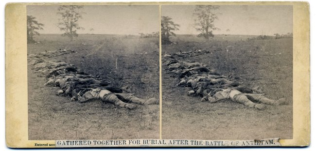 Alexander Gardner (1821-1882) 'Gathered Together for Burial after the Battle of Antietam' 1862