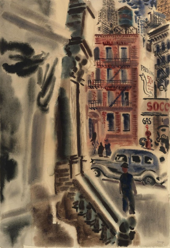 George Grosz. 'New York street scene' Nd