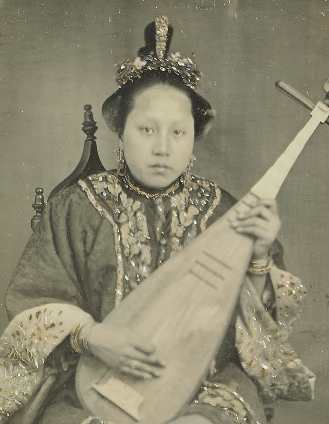 Unknown maker (American) '[Chinese Woman with a Mandolin]' 1860 (detail)