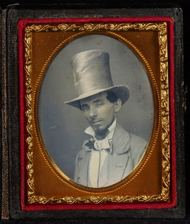 Unknown maker (American) 'Portrait of a Young Man in a Top Hat' c. 1850s