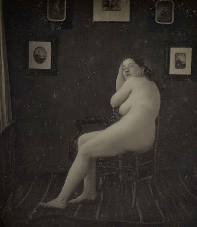 Unknown maker (American) 'Nude Woman in Photographer's Studio' c. 1850 (detail)