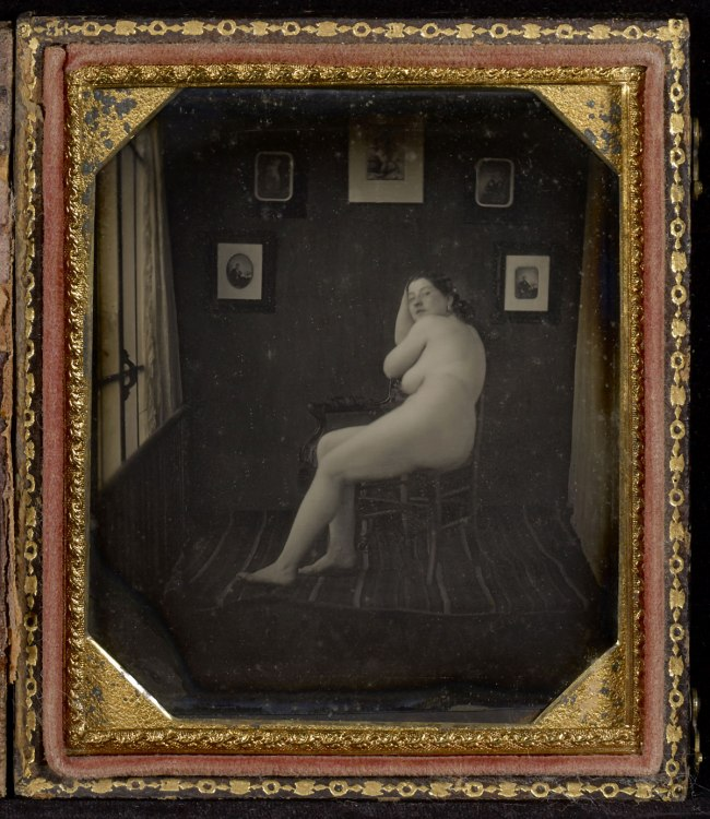 Unknown maker (American) 'Nude Woman in Photographer's Studio' c. 1850