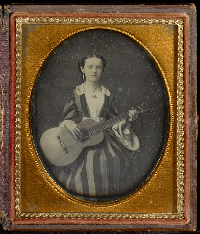 Unknown maker (American) 'Portrait of Young Girl with a Guitar' c. 1850