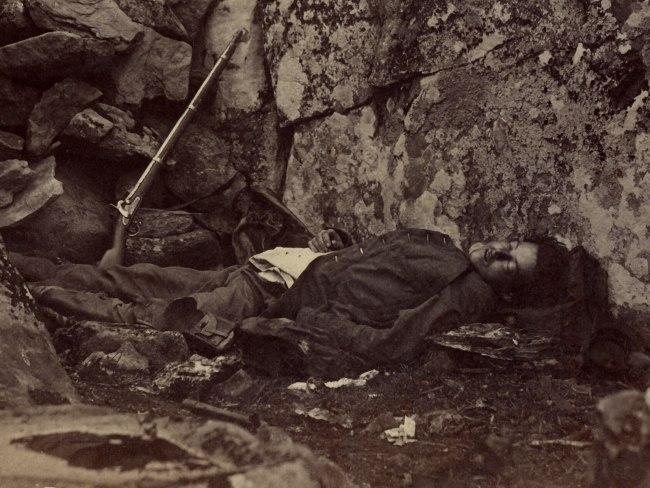 Alexander Gardner (1821-1882) 'Home of a Rebel Sharpshooter' July 1863 (detail)