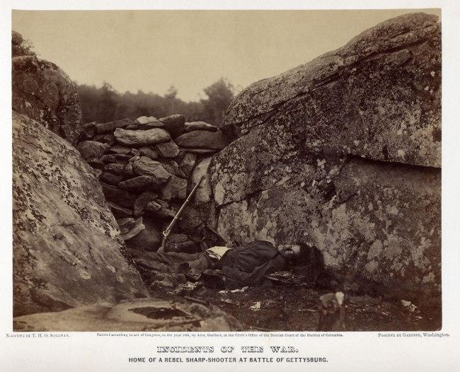Alexander Gardner (1821-1882) 'Home of a Rebel Sharpshooter' July 1863