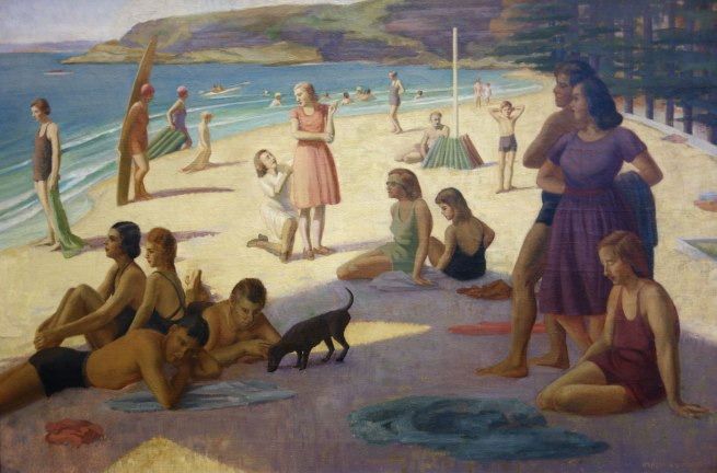 Nancy Kilgour (1904-1954) 'Figures on Manly Beach' c. 1930