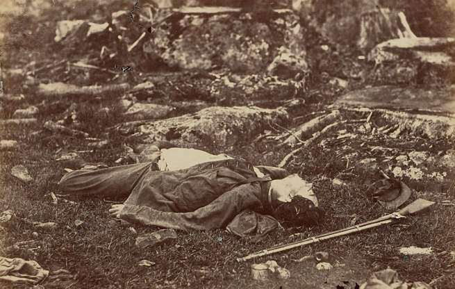 Alexander Gardner (1821-1882) 'A Sharpshooter's Last Sleep, Gettysburg, July 1863' 1863