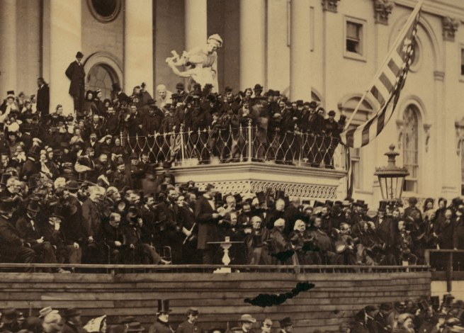 Alexander Gardner (1821-1882) 'Abraham Lincoln delivering his second inaugural address as President of the United States, Washington, D.C.' March 4, 1865 (detail)