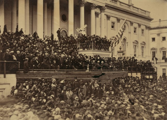 Alexander Gardner (1821-1882) 'Abraham Lincoln delivering his second inaugural address as President of the United States, Washington, D.C.' March 4, 1865