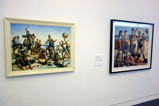 Installation photograph of Charles Meere's 'Australian beach pattern' (1940, below) and Anne Zahalka's 'The bathers' (1989)