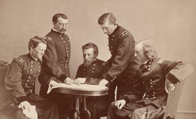Alexander Gardner (1821-1882) 'General Sheridan and His Staff' c. 1865 (detail)