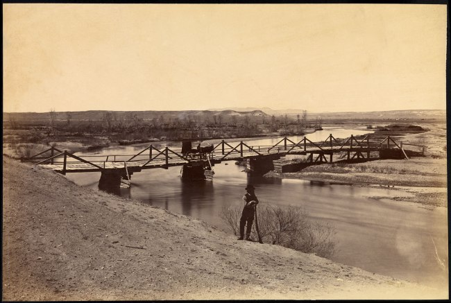 Alexander Gardner (1821-1882) 'Bridge over the Laramie River near its Junction with the North Platte River, Fort Laramie, Dakota Territory' 1868