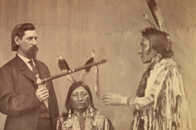 Alexander Gardner (1821-1882) 'Lakota delegates Medicine Bull, Iron Nation, and Yellow Hawk with their Agent-Interpreter, Washington, D.C.' 1867 (detail)