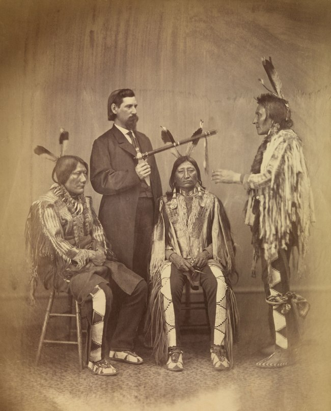 Alexander Gardner (1821-1882) 'Lakota delegates Medicine Bull, Iron Nation, and Yellow Hawk with their Agent-Interpreter, Washington, D.C.' 1867