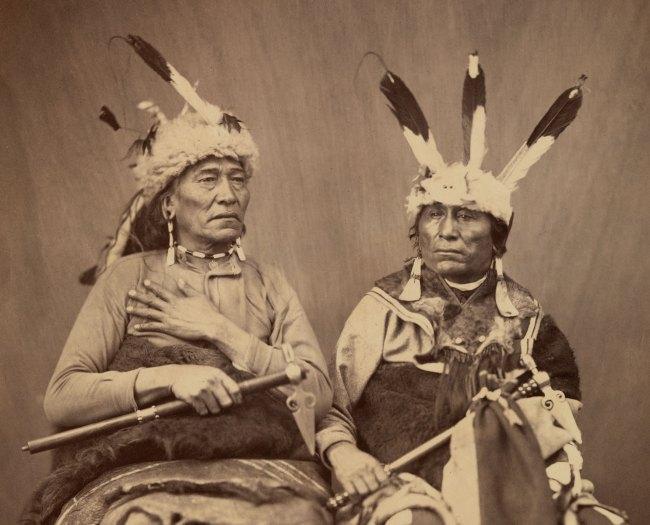 Alexander Gardner (1821-1882) 'Ihanktonwan Nakota delegates Long Foot and Little Bird, Washington, D.C.' 1867 (detail)