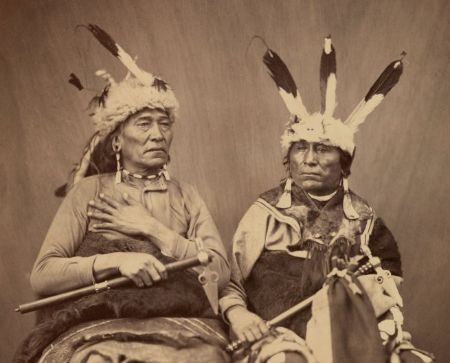Alexander Gardner (1821-1882) 'Ihanktonwan Nakota delegates Long Foot and Little Bird, Washington, D.C.' 1867 (detail)