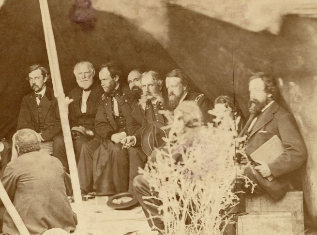 Alexander Gardner (1821-1882) 'Indian Peace Commissioners in council with the Northern Cheyenne and Northern Arapaho, Fort Laramie, Dakota Territory' 1868 (detail)