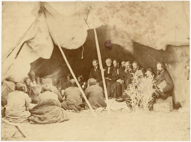Alexander Gardner (1821-1882) 'Indian Peace Commissioners in council with the Northern Cheyenne and Northern Arapaho, Fort Laramie, Dakota Territory' 1868
