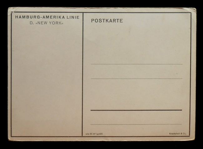 Knackstedt & Co (publisher) 'SS New York' Nd postcard verso
