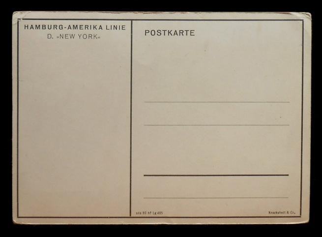 Knackstedt & Co (publisher) 'SS New York' Nd postcard verso