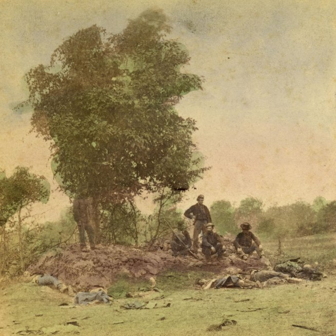 Alexander Gardner. 'View on Battle Field of Antietam, Burial party at work' 1862 (detail)