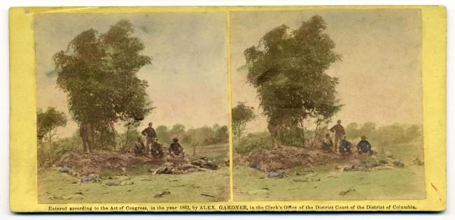 Alexander Gardner. 'View on Battle Field of Antietam, Burial party at work' 1862