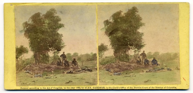 Alexander Gardner. 'View on Battle Field of Antietam, Burial party at work' 1862