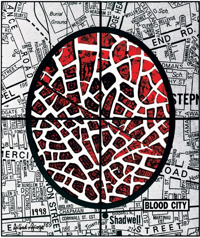 Gilbert & George. 'BLOOD CITY' 1988