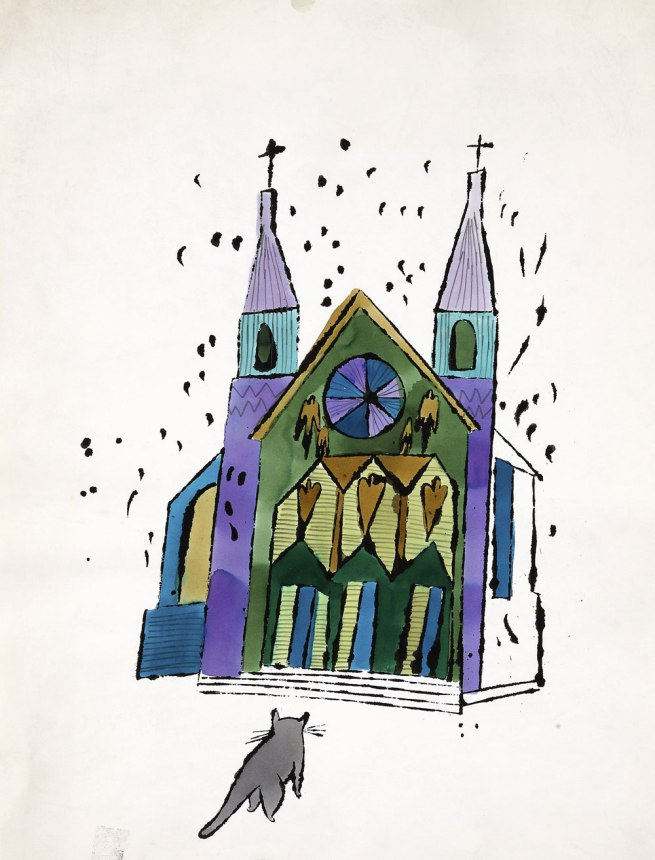Andy Warhol (American 1928-87) 'Cat in Front of Church' c. 1959