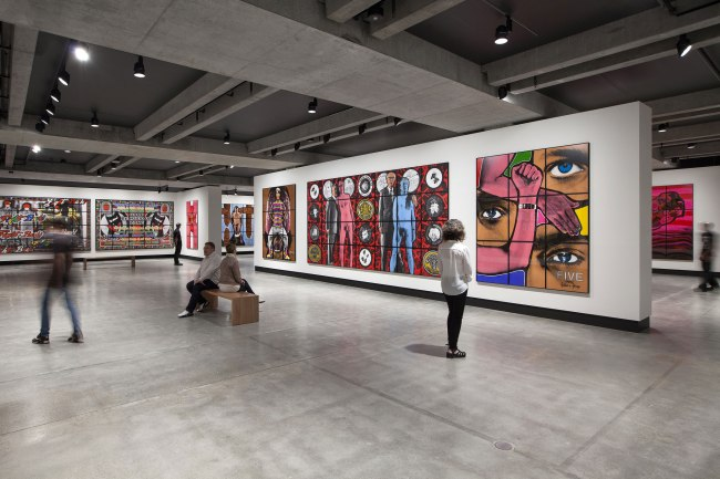 Installation view of the exhibition 'Gilbert & George: The Art Exhibition' at the Museum of Old and New Art, Hobart