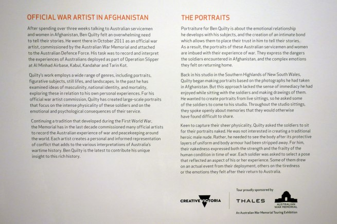 Introductory text from the exhibition 'Ben Quilty: After Afghanistan' at the Castlemaine Art Gallery