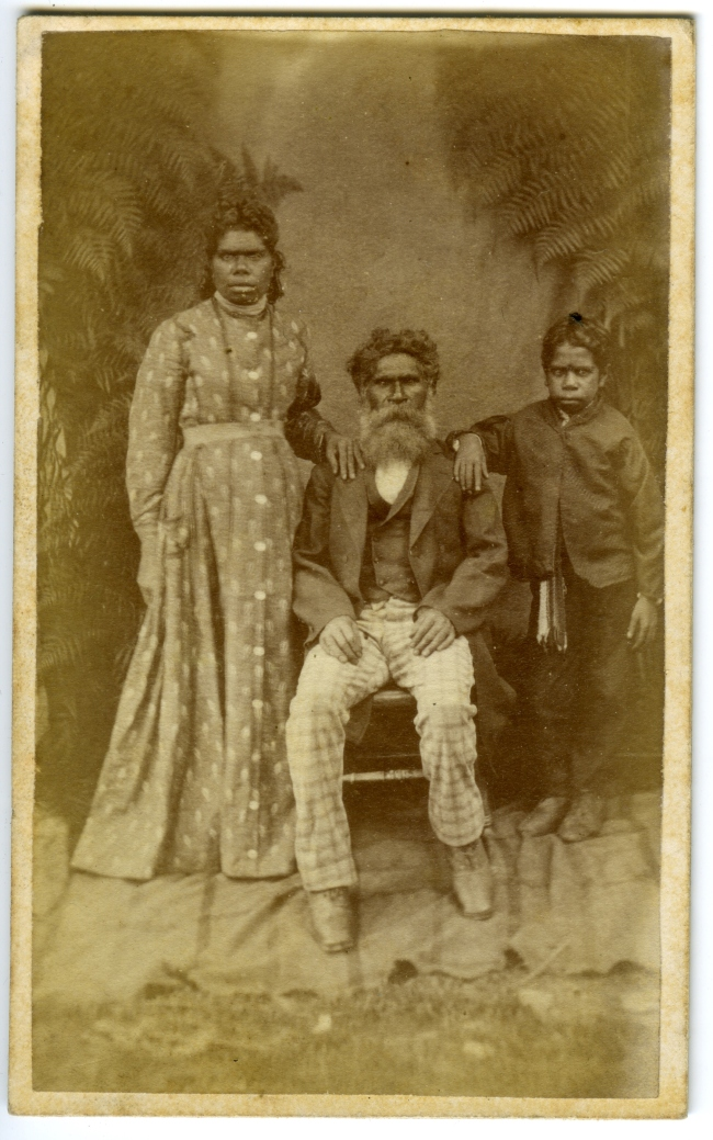 Fred Kruger (Australian born Germany, 1831-1888) 'William and Annie Barak with their son, David, at Coranderrk Aboriginal Station' c. 1875
