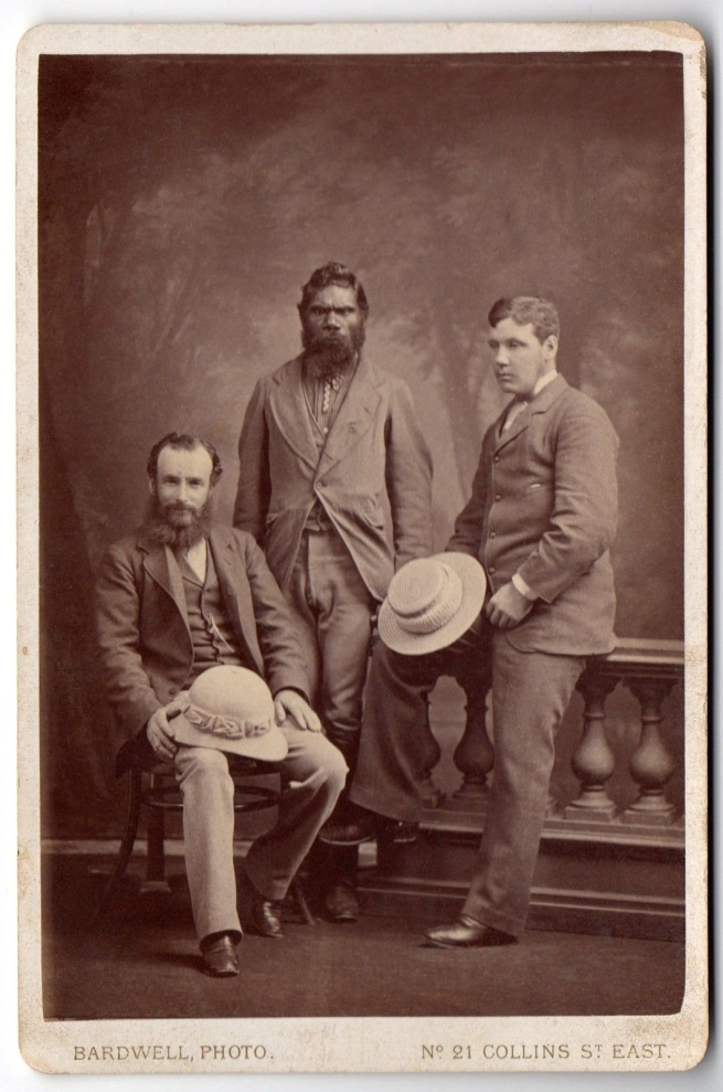 William Bardwell. Untitled (Alfred William Howitt, William Barak and unidentified man)' Melbourne, 1880-1888