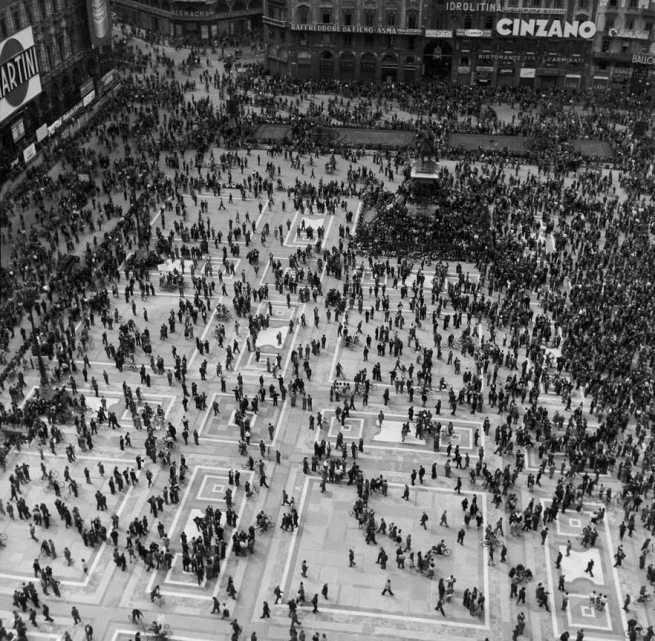 Werner Bischof (1916 - 1954) 'Demonstration on the Piazza del Duomo' Milan, Italy 1946