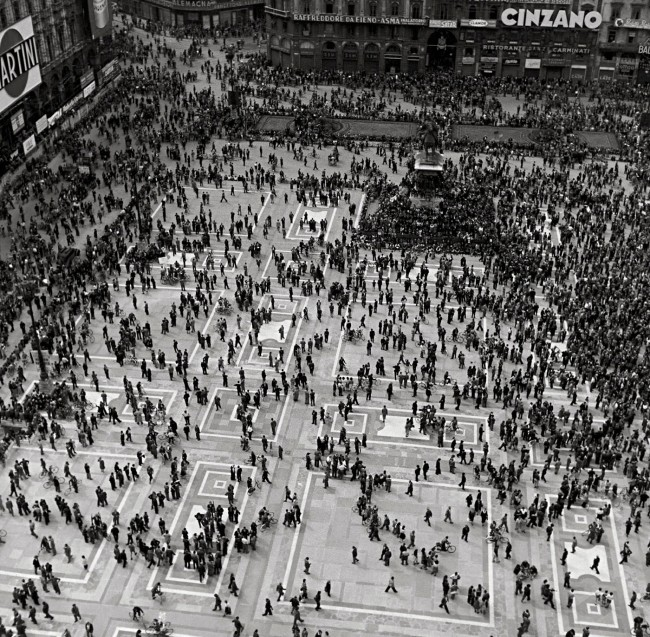 Werner Bischof (Swiss, 1916-1954) 'Demonstration on the Piazza del Duomo' Milan, Italy, 1946