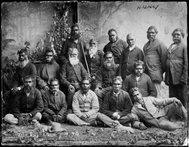 Unknown photographer. '[A group of Aboriginal men at Coranderrk Station, Healesville]' Nd