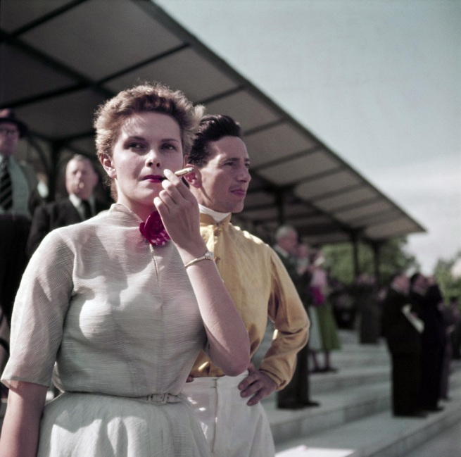 Robert Capa (1913 - 1954) 'Gen X girl, Colette Laurent, at the Chantilly racetrack, France' 1952