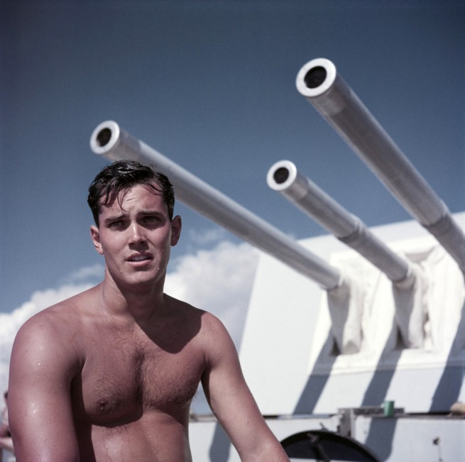 Robert Capa (1913 - 1954) 'Jeffrey Hunter on the set of 'Single-Handed (Sailor of the King)'' Malta, 1952